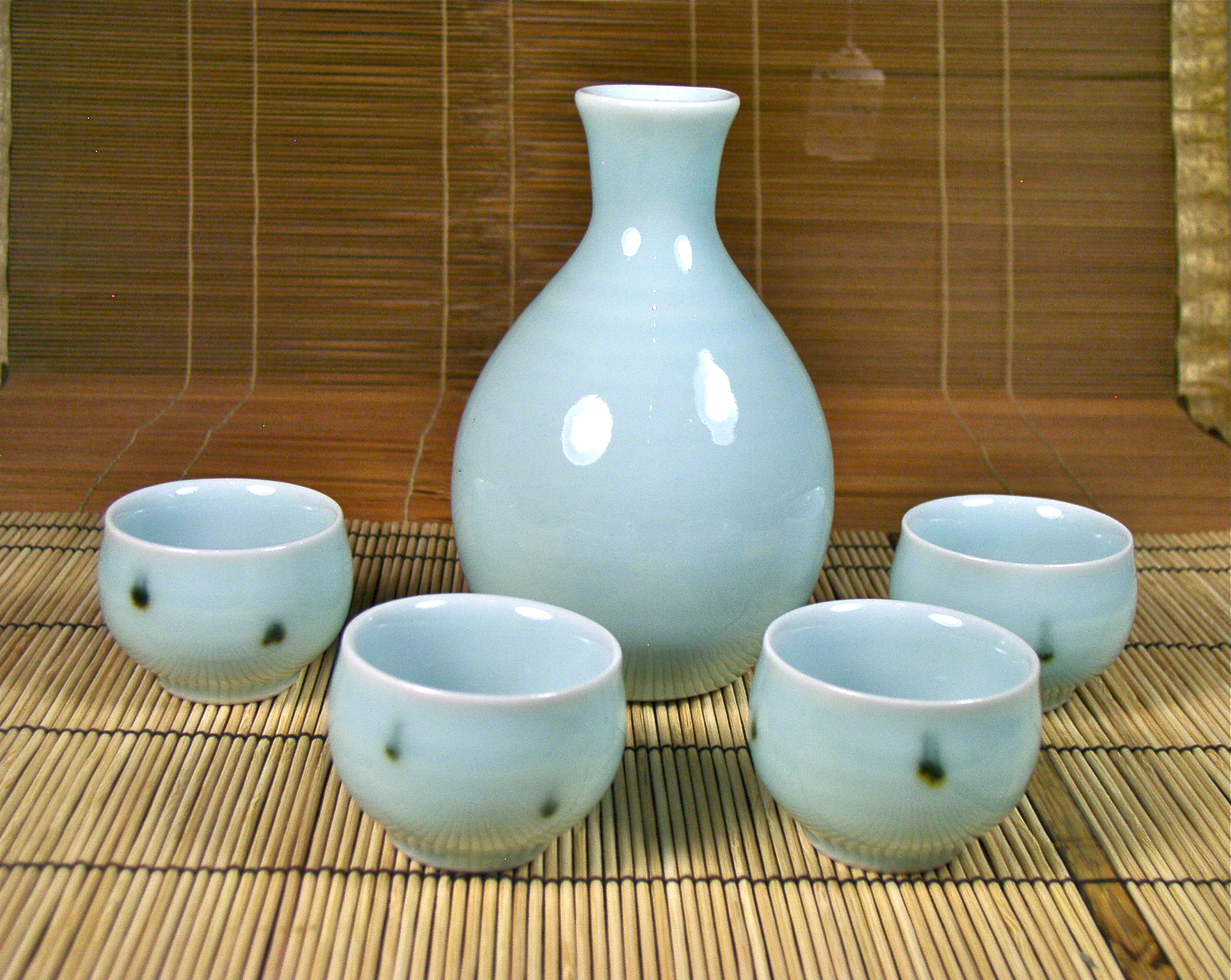 Celadon Sake Set with Dotted Cups