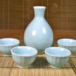 Celadon Sake Set with Fluted Cups