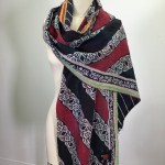 Red, Black & White Stripe Kantha Scarf