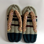 Sage & Green & Brown Checked Eco-Zori Japanese Slippers