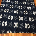 Antique Indigo Futon-gawa, E-gasuri Design with Flowers and Abstract