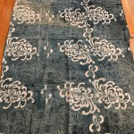 "Antique Indigo Futon-gawa with ""Spider-Chrysanthemum"" pattern"