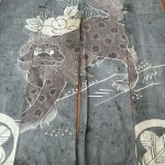 Lion Dog with Peony Noren (Hanging) Antique Indigo