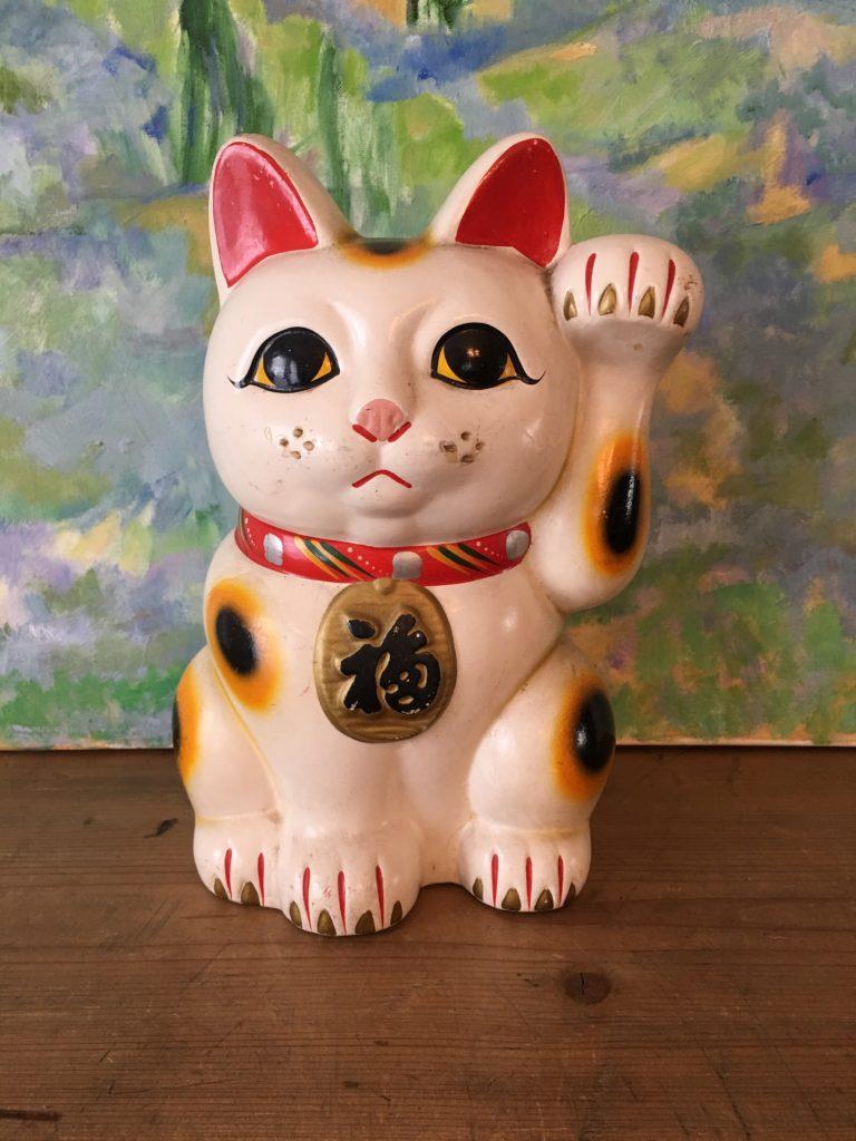1950 S Ceramic Lucky Cat Old Japan