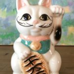 Solid Porcelain Beckoning Lucky Cat