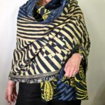 Blue, Black & Cream Floral Geometric Shawl or Throw, #1