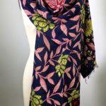 Floral Pink, Black, and Green Reversible Kantha Scarf
