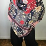 Black, Red & Cream Floral Reversible Shawl/Throw #1