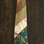 Copper & Brown Floral Kimono Patchwork Silk Necktie