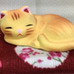 Orange Tabby Sleeping Ceramic Cat on Zabuton Pillow